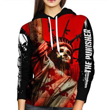 The Punisher Statue of Liberty Womens Hoodie