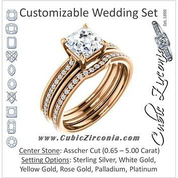 CZ Wedding Set, featuring The Rikki engagement ring (Customizable Asscher Cut Design with Double-Grooved Pavé Band)