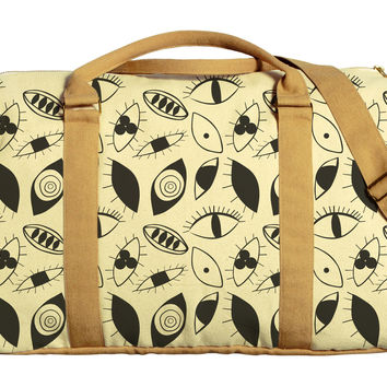Eyes Abstract Pattern Printed Oversized Canvas Duffle Luggage Travel Bag WAS_42