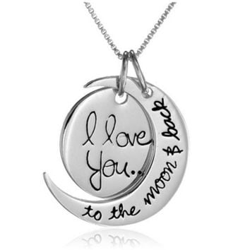 I Love You To the Moon and Back Silver Pendant Necklace For Women