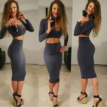 Bandage Crop Top and Bodycon Skirt Dress Suit