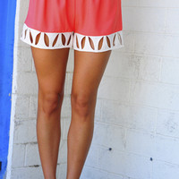 Classy And Cutouts Shorts: Coral/Ivory | Hope's