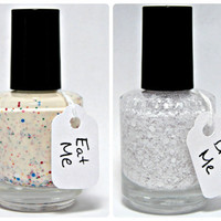 Eat, Drink, & Be Alice Duo - Alice in Wonderland Eat Me Drink Me Custom Glitter Nail Polish