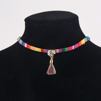 Rainbow Stripe Choker Tassel Rhinestone Necklace