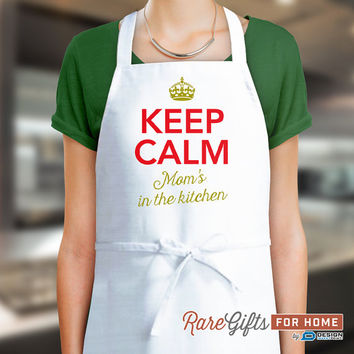 Mom Gift, Birthday Gift For Mom! Funny Apron, Keep Calm, Moms In The Kitchen, Cooking Gift, Awesome Mom, Personalized, Alternative Mom Shirt