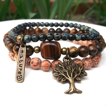 Nature Bracelet, Tiger Eye Bracelet, Yoga Bracelet, Tree of Life Bracelet,  Earth Energy Bracelet, Set of 3 Bracelets, Meditation Bracelet
