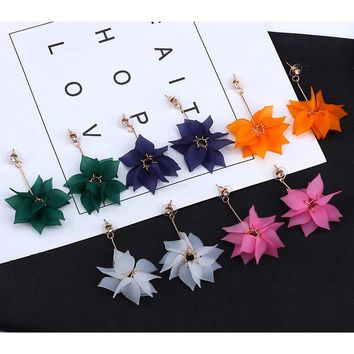 New Fashion Petal Flower Earrings For Women 5 Colors Cloth Lotus Long Tassel Stud Earrings Party Jewelry Brincos Dropshipping