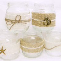 Nautical Mini Mason Jar Wedding Decorations - Nautical tea light candle holders wedding centerpieces, seashell starfish, anchor, mantlepiece