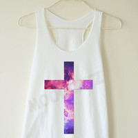 Inverted cross shirt galaxy cross tshirt galaxy shirt funny shirt jesus shirt summer top women shirt racer women tank top tunic women tshirt