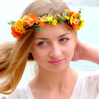 Orange, yellow Flower Crown,  Woodland Halo, Floral Crown, Bohemian headpiece, Boho flower,  Girls flower crown,  Wedding Hair Piece,