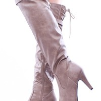 TAUPE CRINKLE FAUX LEATHER OVER THE KNEE BOOTS
