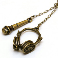 Love Music Lariat Necklace, Antique Brass DJ Microphone Headphones Pendant