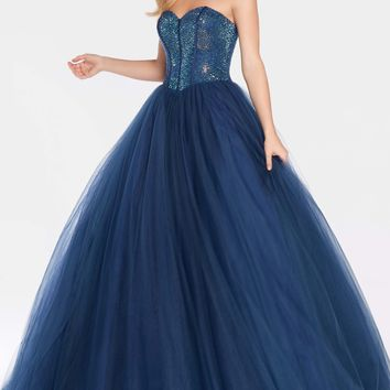 Alyce 60204 Ball Gown with Sequin Bodice- Navy