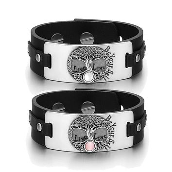 Tree of Life Celtic Powers Love Couples White Pink Simulated Cats Eye Black Leather Tag Bracelets