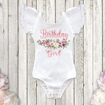 Rose Gold Birthday Girl Shirt Floral Birthday Leotard 1st Birthday Outfit First Birthday Shirt Boho Birthday Outfit 2nd Birthday Any Size