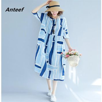 Anteef cotton linen plus size vintage print clothes women casual loose long summer dress vestidos femininos 2018 dresses