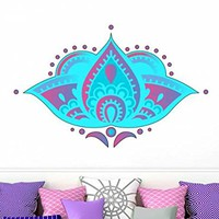 Wall Decal Lotus Flower Full Color Vinyl Sticker Decals Colorful Floral Mandala Namaste Decor Boho Bohemian Bedroom Ornament Yoga Studio EN7 (17x27)