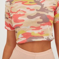 Cream Camouflage Crop T Shirt