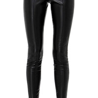 Black Cropped Faux Leather Pants