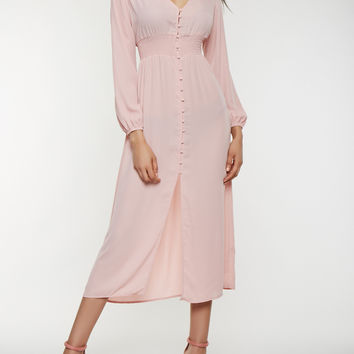 Button Front Smocked Waist Dress