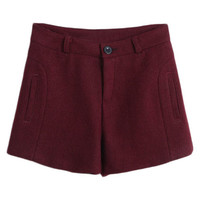ROMWE | ROMWE Zippered Pocketed Burgundy Shorts, The Latest Street Fashion