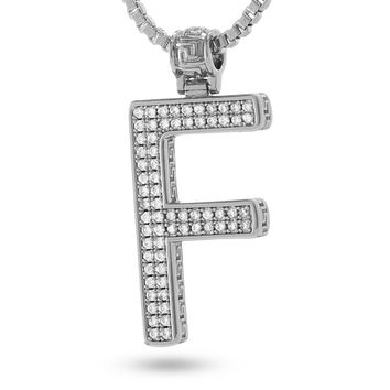 """White Gold Letter """"F"""" Necklace"""