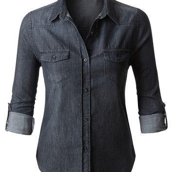 LE3NO Womens Vintage Black Distressed Long Sleeve Button Down Denim Shirt Top