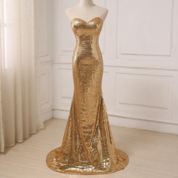 Gold Sequin Bridesmaid Dresses Sleeveless Sweep Train Sweetheart Sexy Wedding Party Formal Dress
