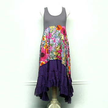 Artsy Clothing, Festival Clothing, Boho Chic Dress, Hippie Dress, Free People Anthropologie Inspired Upcycled Clothing by Primitive Fringe