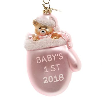 Holiday Ornaments BABY'S FIRST 2018 MITTEN Glass Dated 33 Pink