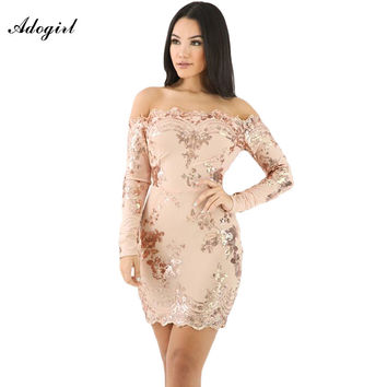 Adogirl 2017 New Spring Vintage Lace Dresses Embroidered Bodycon Dress Apricot Scalloped Trim Off Shoulder Sequin Floral Dresses