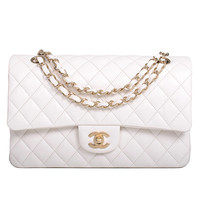 Chanel White Quilted Lambskin Large Classic Double Flap Bag Gold Hardware