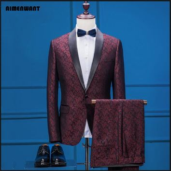 AIMENWANT Tailor Made Jacket 2017 Blazer British Gentleman Vintage Printing Suit Male Western-style clothes Mens Suit With Pants
