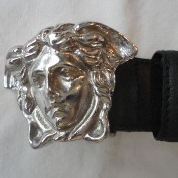 Mens Vintage Gianni Versace Medusa Head Belt Black Size 34 Made In Italy