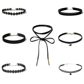 7 Pieces Choker Necklace Set Stretch Velvet Classic Gothic Tattoo Lace Choker