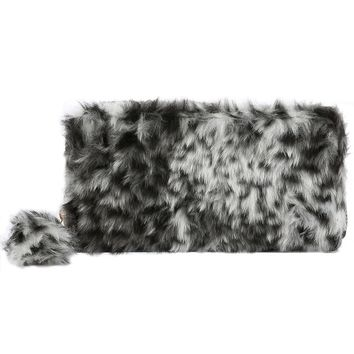 Black & White Leopard Pattern Faux Fur Clutch Wallet
