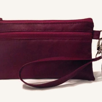 Aubergine Leather Purse with Detachable Wrist Strap, Leather Cell Phone Purse, Red/Purple Wristlet Clutch ,Italian Leather Clutch Purse
