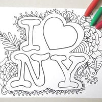 i love ny coloring new york kids adult coloring book page instant download colouring zen meditation printable print digital lasoffittadiste