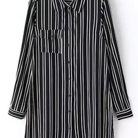 Black White Shirt Collar Striped Long Sleeve Blouse