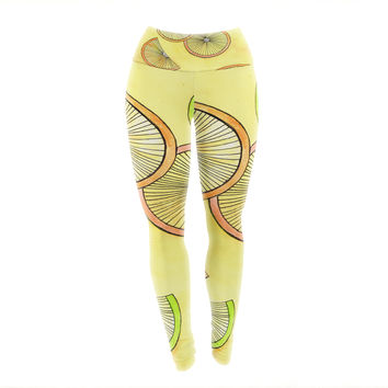 "Rosie Brown ""Lemons And Limes"" Yellow Fruit Yoga Leggings"