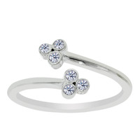 Sterling Silver Rhodium Plated Clover Style CZ By Pass Style Adjustable Toe Ring