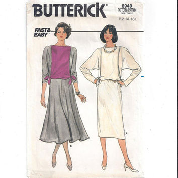 Butterick 6949 Pattern for Misses' Dress, Sz 12, 14, 16, From 1980s, FACTORY FOLDED & UNCUT,  Vintage Pattern, Home Sew Pattern, Fast Easy