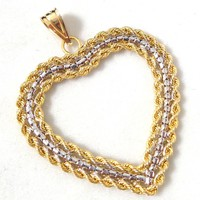 Estate Large 14K Yellow White Gold Rope Design Heart Pendant Original Box