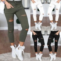 CREYOND Women Denim Pants Holes Destroyed Knee Pencil Pants Casual Trousers Black White Stretch Ripped Jeans