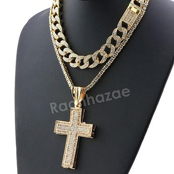 Hip Hop Iced Out Quavo Cross Miami Cuban Choker Chain Tennis Necklace L40