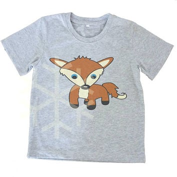 Fox shirt toddler animal tee Kids tshirts -3/4 sleeve-Children shirt -Cute Toddler shirts - Toddler Boy shirt - Toddler Girl shirt