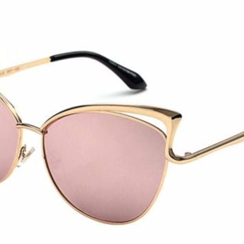 'Marcie' Cat-Eyed Shades - Gold/Pink