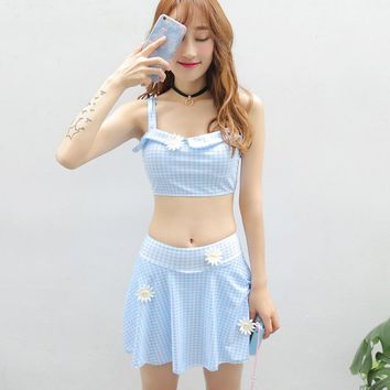 New Arrival Girls Sweet Swim Suit Skirt Swimwear Grid Plaid Push Up Bathing Suits High Quality Sexy Bathsuit Two Pieces Swimsuit