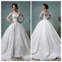 2017 New Gorgeous New Princess Wedding Dresses Boat Neck 3/4 Sleeve A-Line Chapel Train Lace Tulle Wedding Gowns robe de mariage