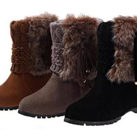 Womens Charming Knit Winter Mid Boots